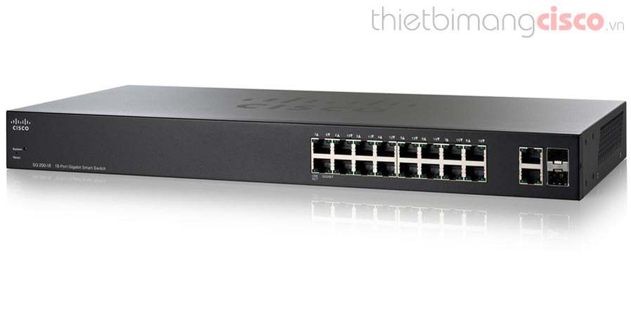 Cisco SLM2016T-EU, Switch Cisco SG200-18 16 port 10/100/1000Mbps + 2 combo mini-GBIC ports