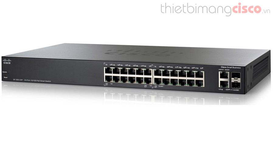 Cisco SLM224PT-EU, Switch Cisco SF200-24P 24 Port 10/100Mbps PoE Smart Switch
