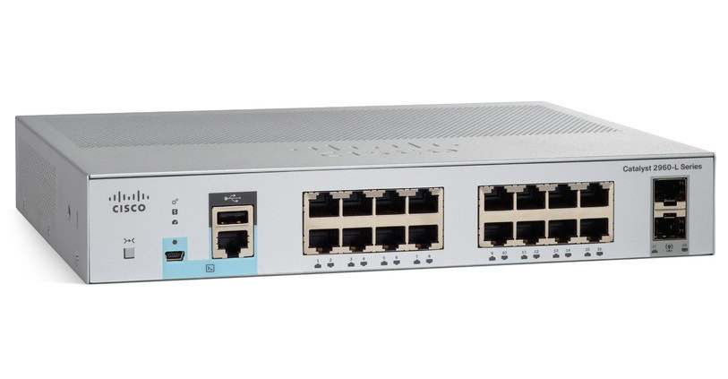 Cisco WS-C2960L-SM-16PS, Cisco WS-C2960L-SM-16PS 16 port GigE PoE+ 120W, 2 x 1G SFP LAN Lite