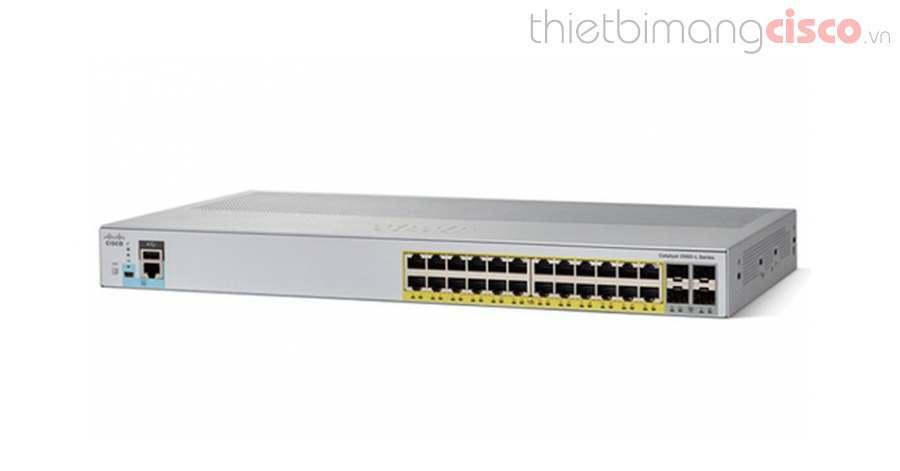 WS-C2960L-24PS-LL C2960L 24 port GigE with PoE, 4 x 1G SFP, LAN Lite, Cisco  WS-C2960L-24PS-LL