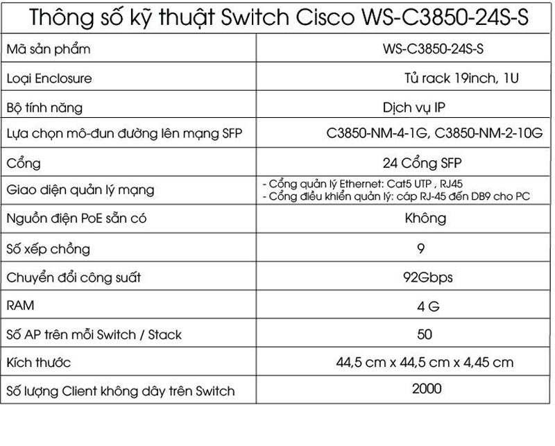 Cisco WS-C3850-24S-S 24-Port SFP Ethernet IP Base, Cisco WS-C3850-24S-S